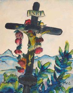Werner Berg, Grabkreuz mit Blumen