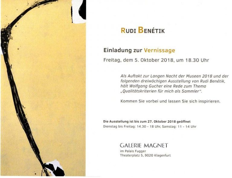Rudi Benetik Ausstellung Galerie Magnet