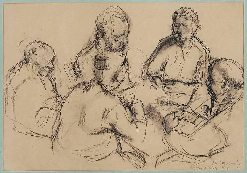 Maria Lassnig - Kartenspieler, 1946, Kohle auf Papier, 31 x 44 cm, signiert