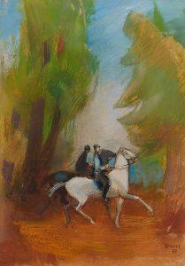 Karl Bauer, Zwei Reiter, 1977, Pastell auf Karton
