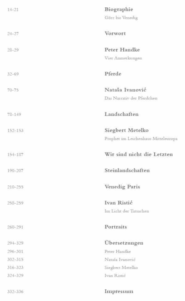 Zoran Music Buch von Galerie Magnet und Siegbert Metelko Inhaltsverzeichnis