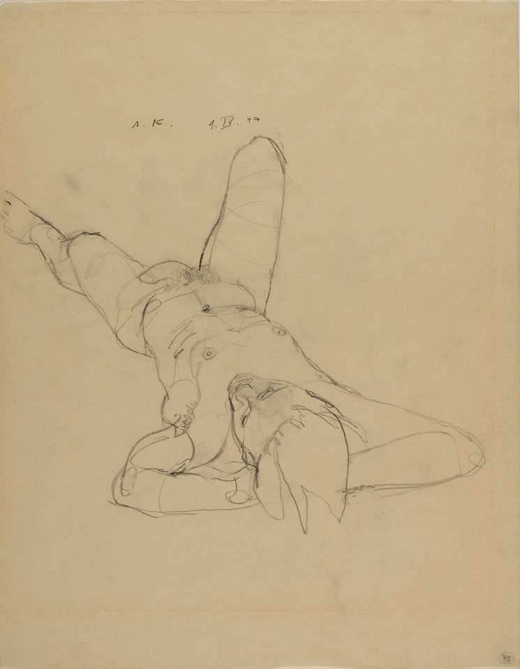 "Anton Kolig, Lying Male Nude, 1947, Pencil ; 45x35cm ; signed, dated and designated (""A.K."" , ""1.IV.47"", at the bottom right ""No.75""); Lit.: ""Man&Frau;"", Rupertinum 2001, p. 87"