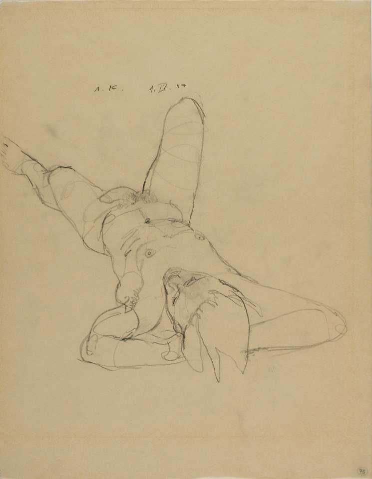 """Anton Kolig, Liegender männlicher Akt, 1947, Bleistift ; 45x35cm ; signiert, datiert und bezeichnet (""""A.K."""" , """"1.IV.47"""", rechts unten """"Nr.75""""); Lit.: """"Mann&Frau;"""", Rupertinum 2001, S. 87"""