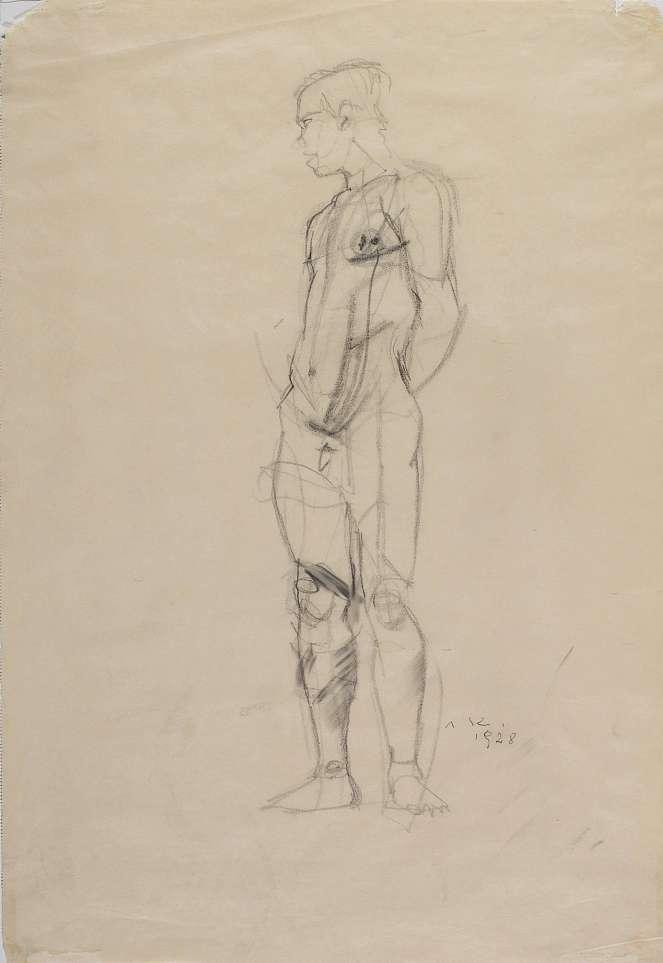Anton Kolig, Stehender männlicher Akt, 1928