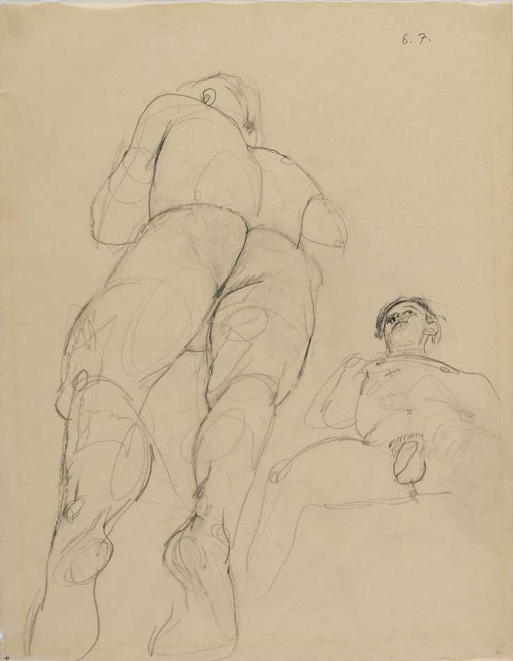 Anton Kolig, Zwei liegende männliche Akte (hinten vorne), 1947