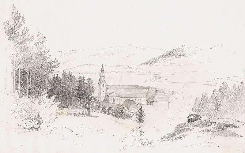 Markus Pernhart, Viktring Abbey, Viktringer Künstlerkreis - circle of Markus Pernhart, Viktring Abbey Pencil on paper; 13.5 x 22 cm; on the reverse a landscape sketch