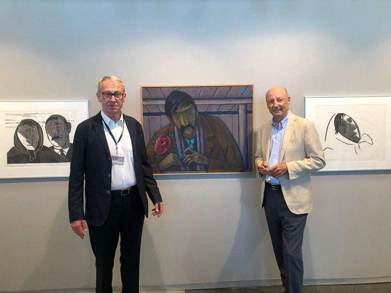 Galerist Magnet und Siegbert Metelko auf der ART Fair 2019