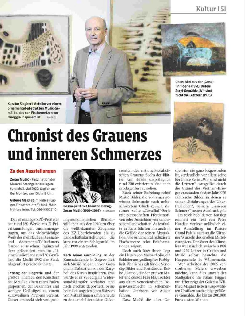 Zoran Music in Klagenfurt - Siegbert Metelko in the Kleiner Zeitung