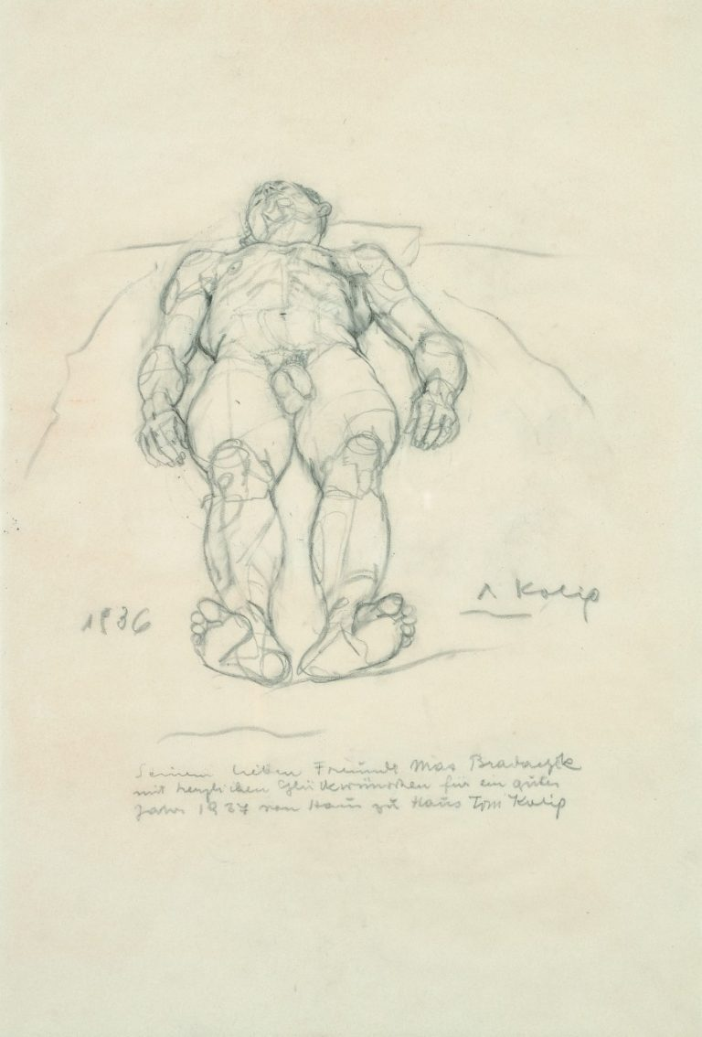 Anton Kolig, Lying Male Nude, 1936, pencil, 49x33cm, signed, dated and dedicated