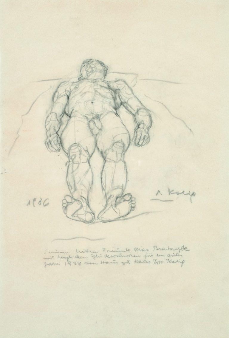 Anton Kolig, Liegender männlicher Akt, 1936, Bleistift, 49x33cm, signiert, datiert und gewidmet