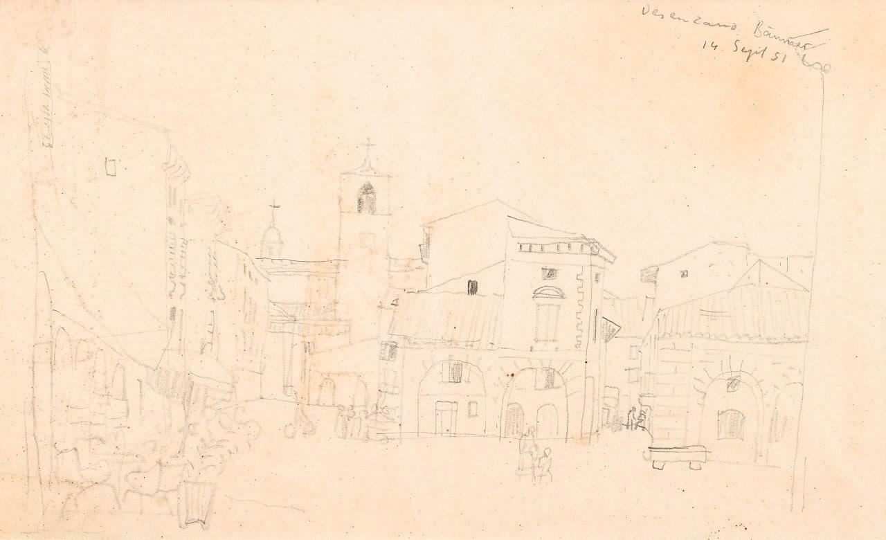 Eduard Bäumer, 1892-1977, Desenzano, 14.Sept. 1951, Bleistift, 40x55, signiert, datiert und betitelt