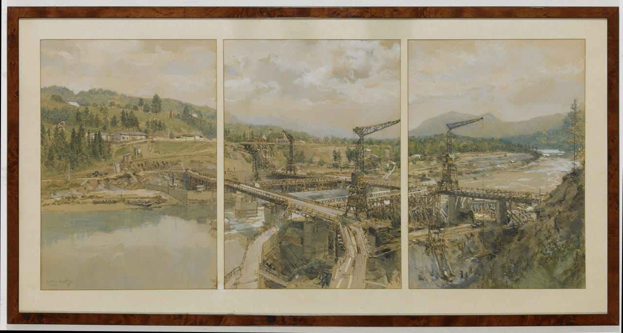 Eduard Manhart, construction of the Kraftwer Schwabegg, 1940, gouache, 42x99cm, sig., dat.