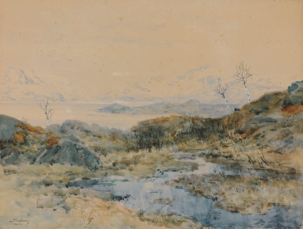 Eduard Manhart, Im Norden von Narvik, 1941, Aquarell, 35x47cm, sig., dat.