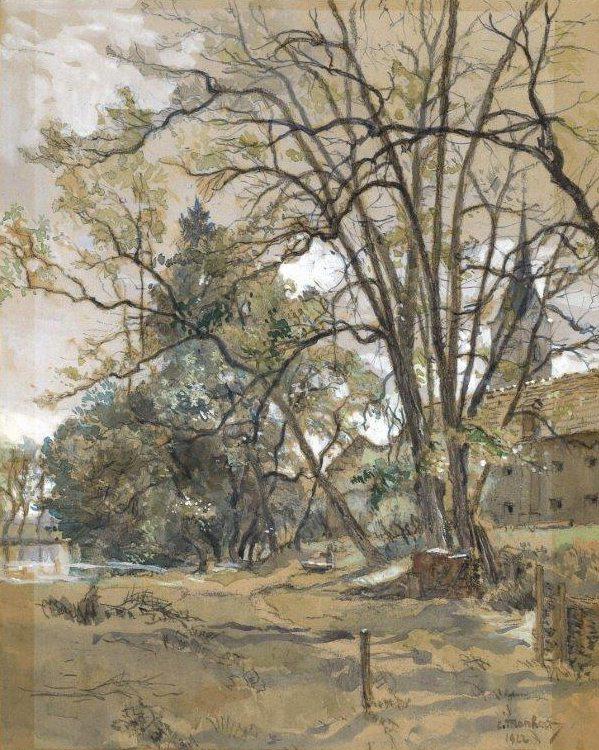Eduard Manhart, Viktring - Schlosspark, 1922, Gouache, 31x25cm, sig., dat.