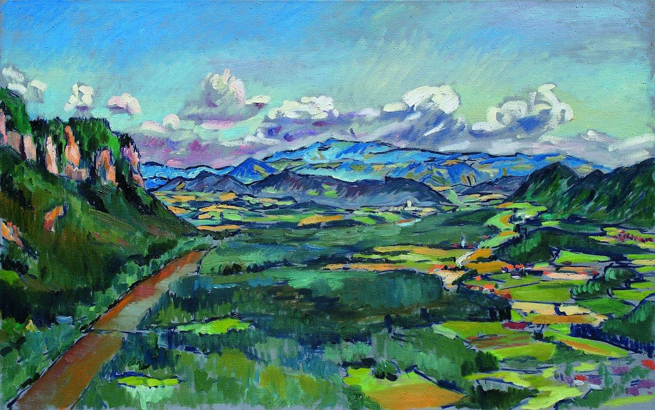 Harald Scheicher, Drauauen und Skarbin, 2009, Öl auf Leinwand, 75x120cm, Galerie Magnet, € 4.900,-