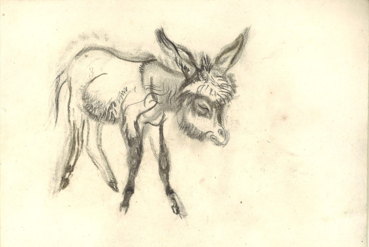 Ludwig H. Jungnickel, donkey to the right, charcoal, 22.5x32.5cm, estate stamp