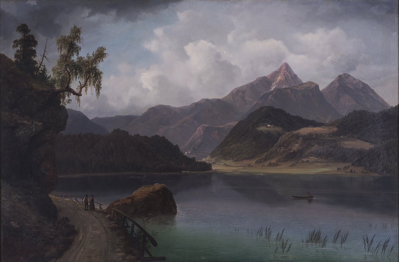 Markus Pernhart, Gösselsdorfersee with Hochobir, oil on canvas, 52x79cm private collection, courtesy Galerie Magnet