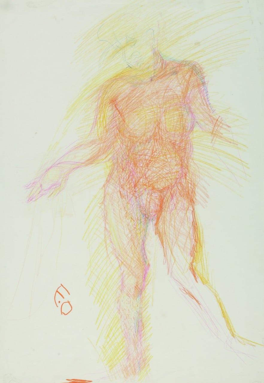 Otto Eder (1924-1982), Männlicher Akt, 1979, Pastellkreide, 74x52cm, signiert