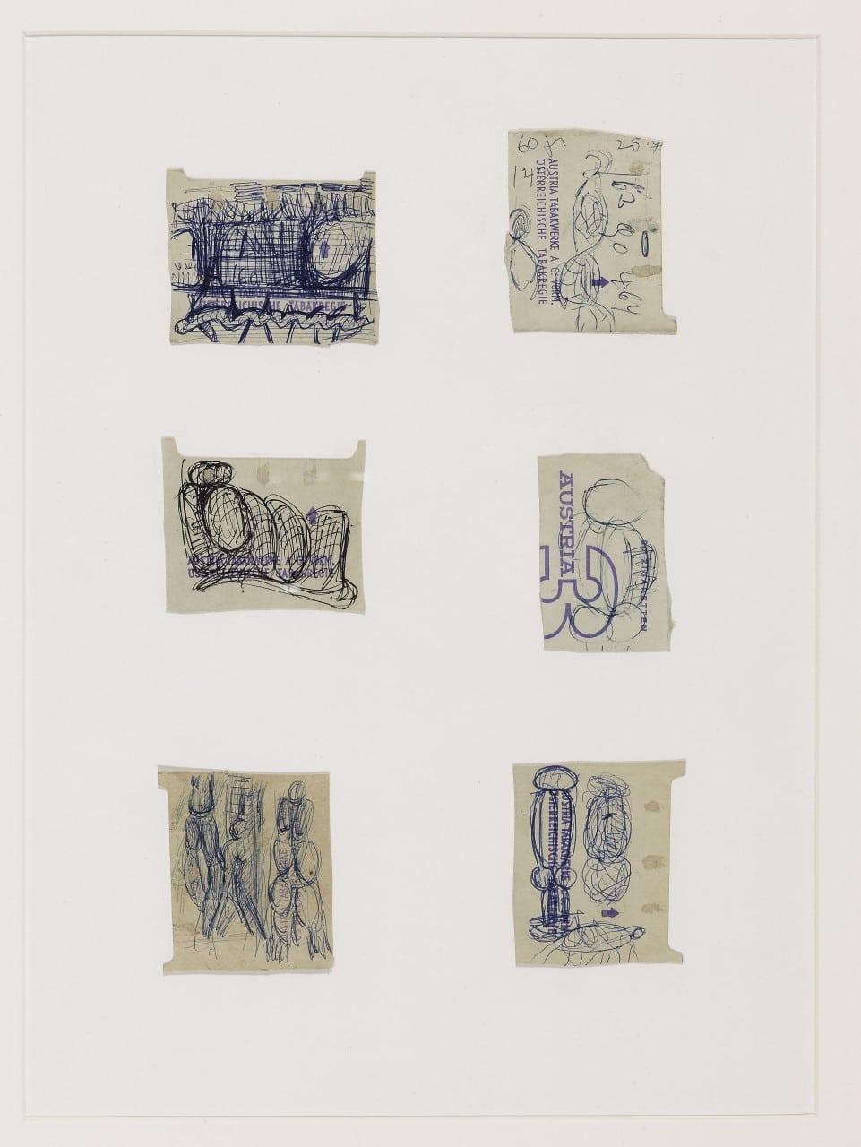Otto Eder (1924-1982), Sechs Zigarettenschachtelzeichnungen auf Austria 3 Papier, 42x30cm,(Einzelblatt 6x6)
