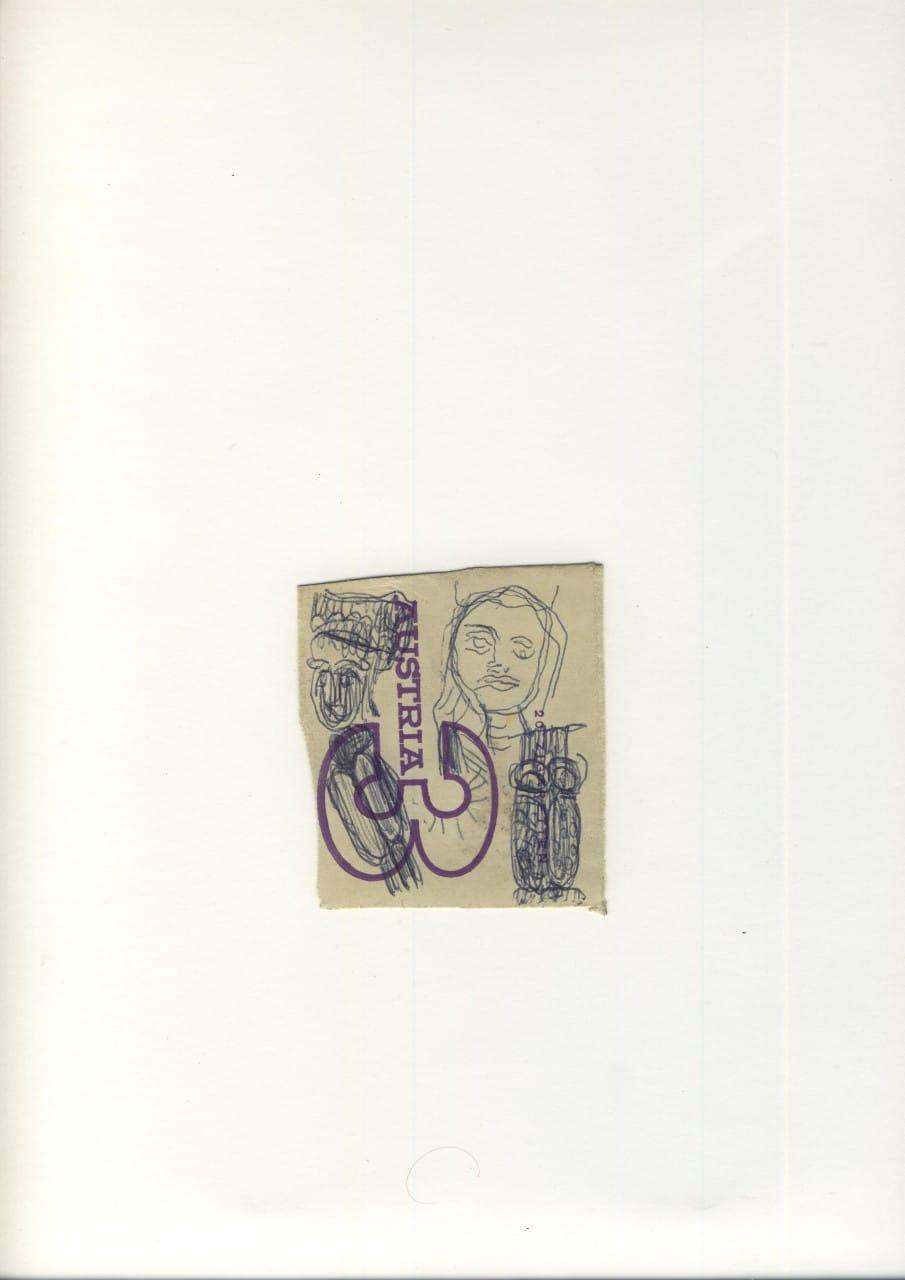 Otto Eder (1924-1982), Zigarettenschachtelzeichnung auf Austria 3 Papier, 42x30cm,(Einzelblatt 6x6)