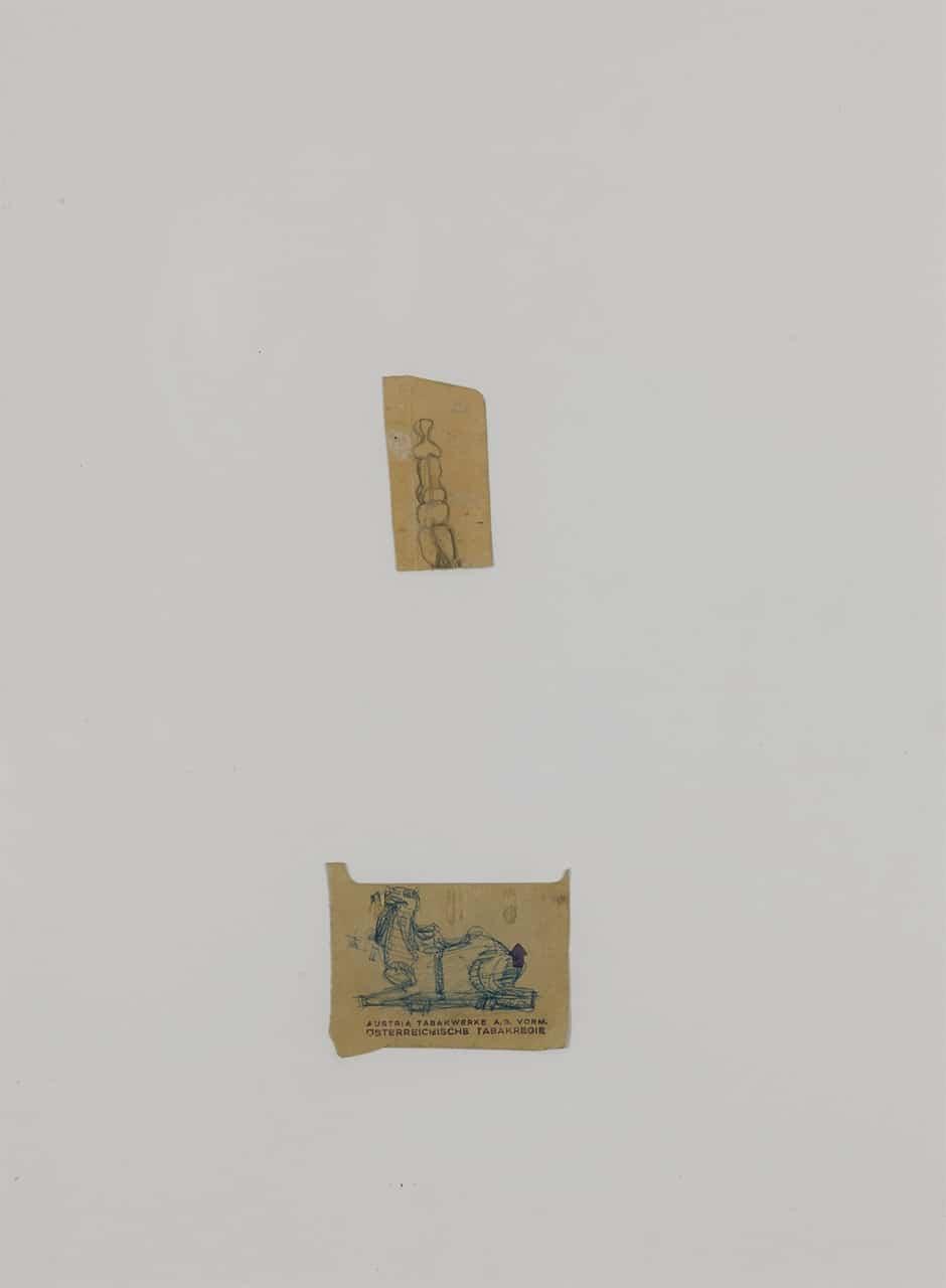 Otto Eder (1924-1982), Zwei Zigarettenschachtelzeichnungen auf Austria 3 Papier, 42x30cm,(Einzelblatt 6x6)