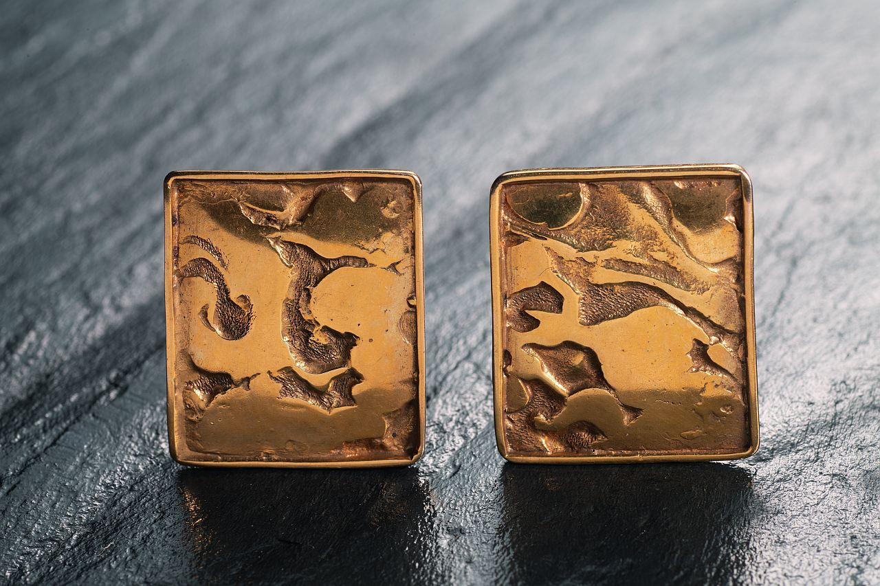 Sepp Schmölzer, Two Golden Cufflinks, Gold 585 Punched, 17g