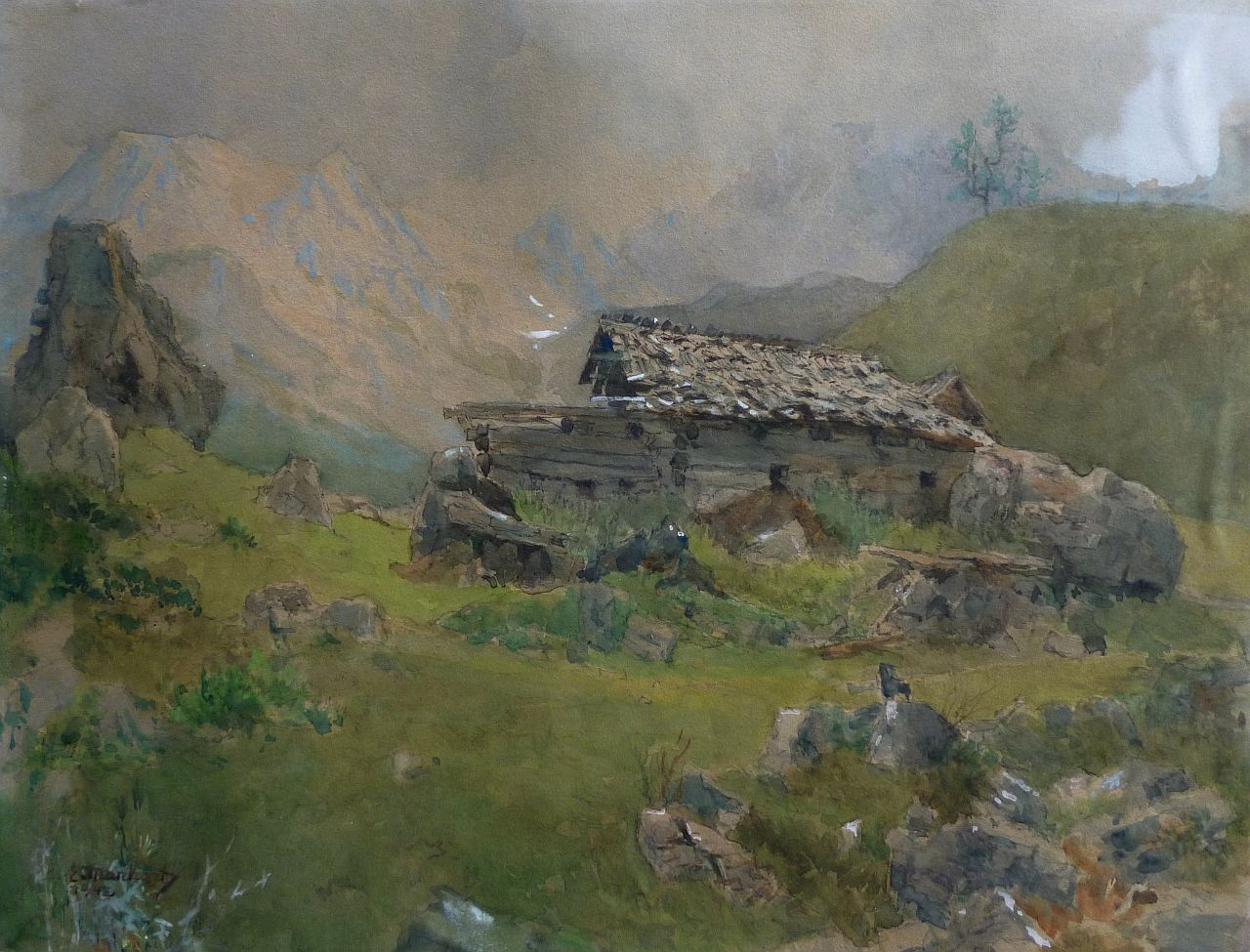 Eduard Manhart (1880-1945), Almhütte in the Karawanken, 1941, gouache, 35x46cm, signed and dated,