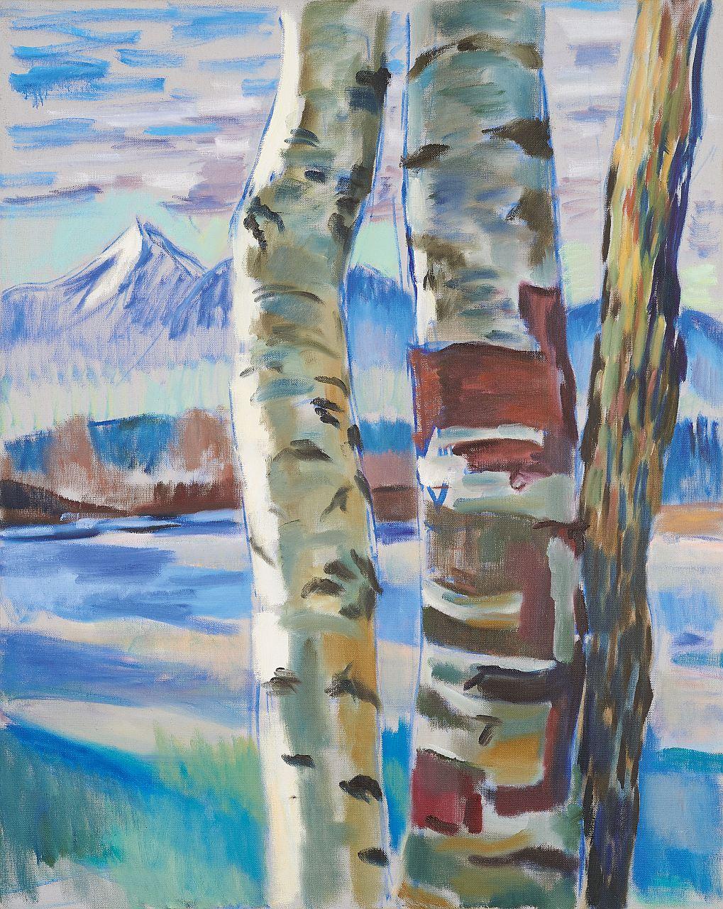 Harald Scheicher, Bäume und Obir, 2020, Öl auf Leinwand, 100x80cm, rückseitig signiert und datiert kleiner