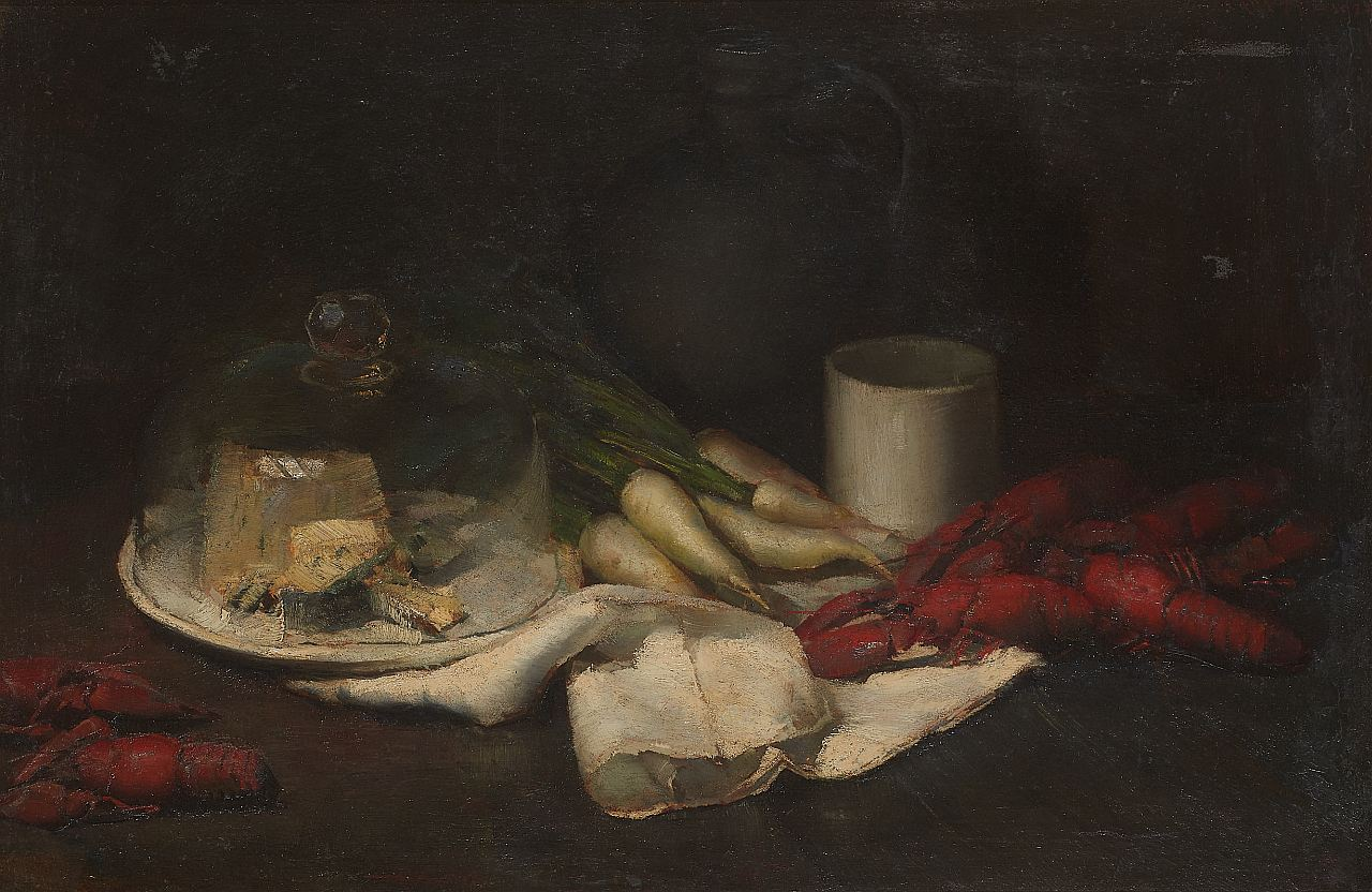 Karl Truppe (1887-1959), Still Life with Crabs and Cheese Bell, 1927, oil on cardboard, 52x4045.5x68cm, signed and dated