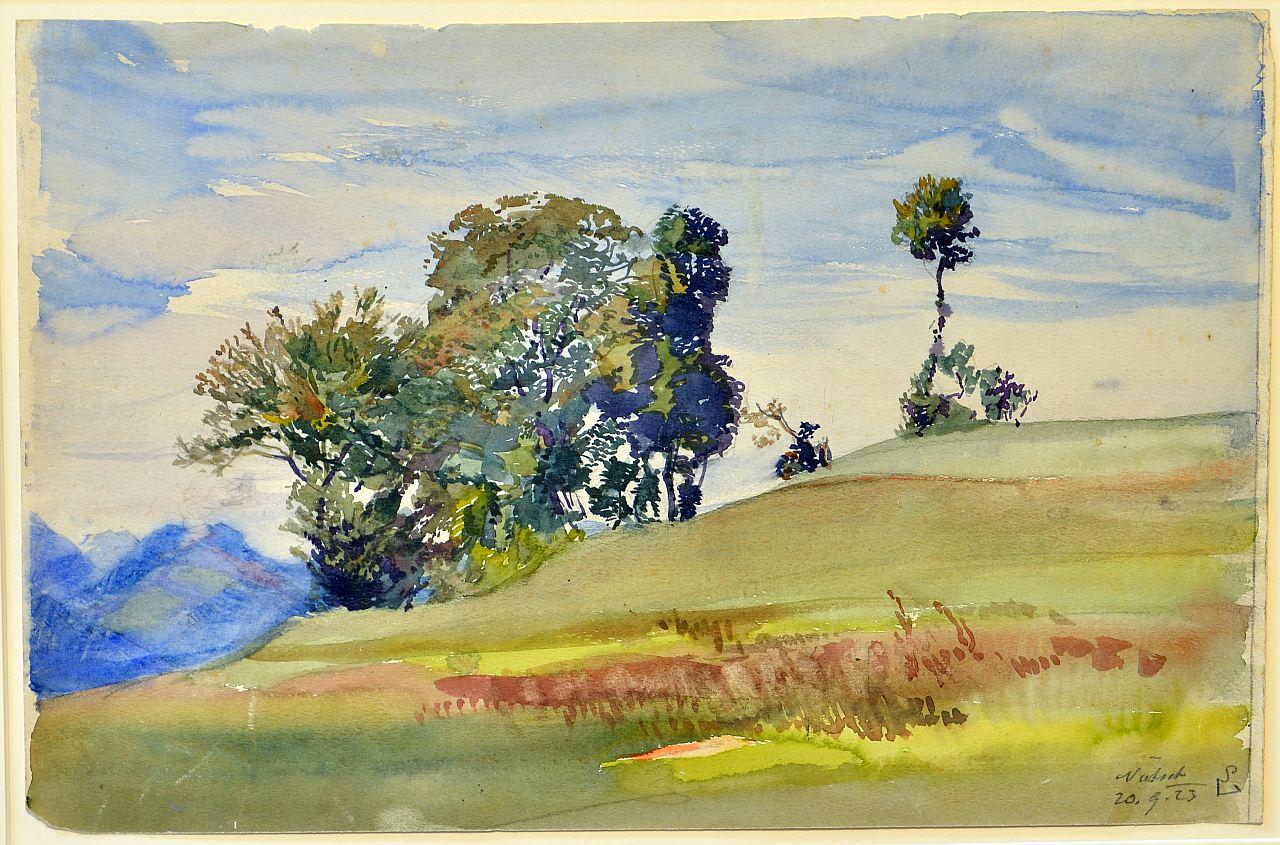Nötsch, Sommerlandschaft, September 20, 1923, watercolor, 24 x 37 cm, signed and dated