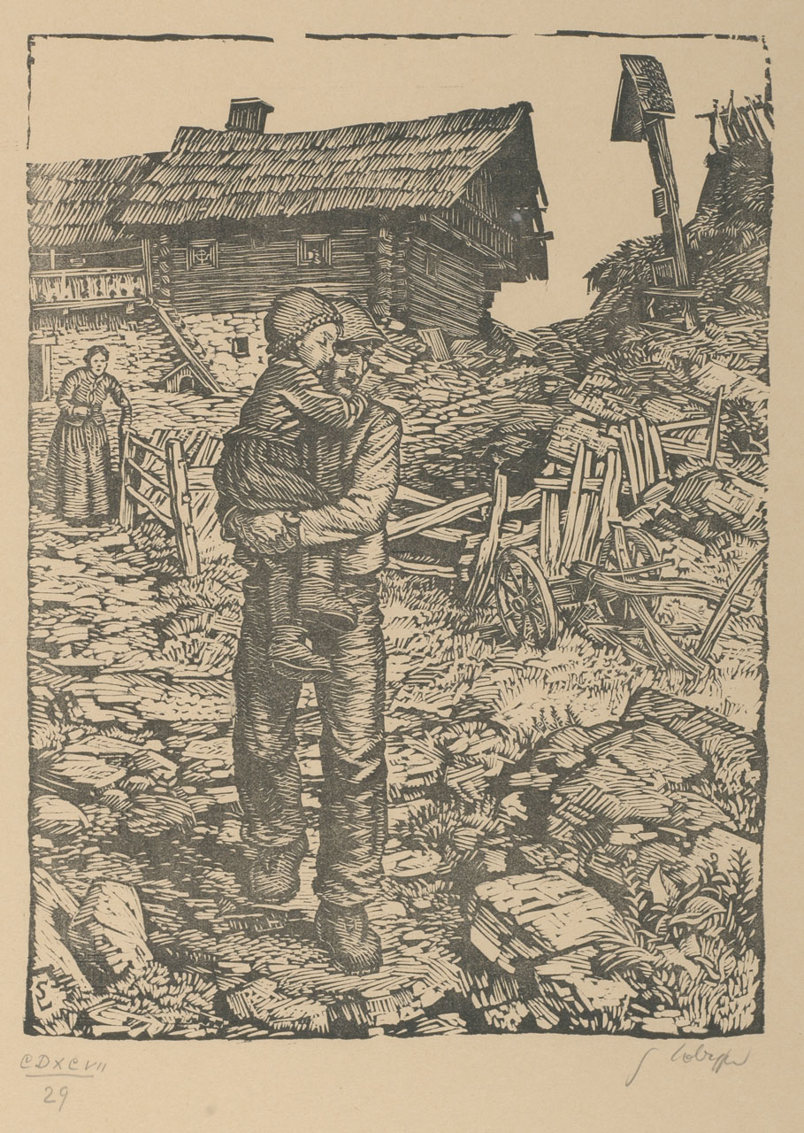 Switbert Lobisser (1878-1943), The sick child, 1939, woodcut, 31x23cm, signed, titled a. numm, 29 from op.497
