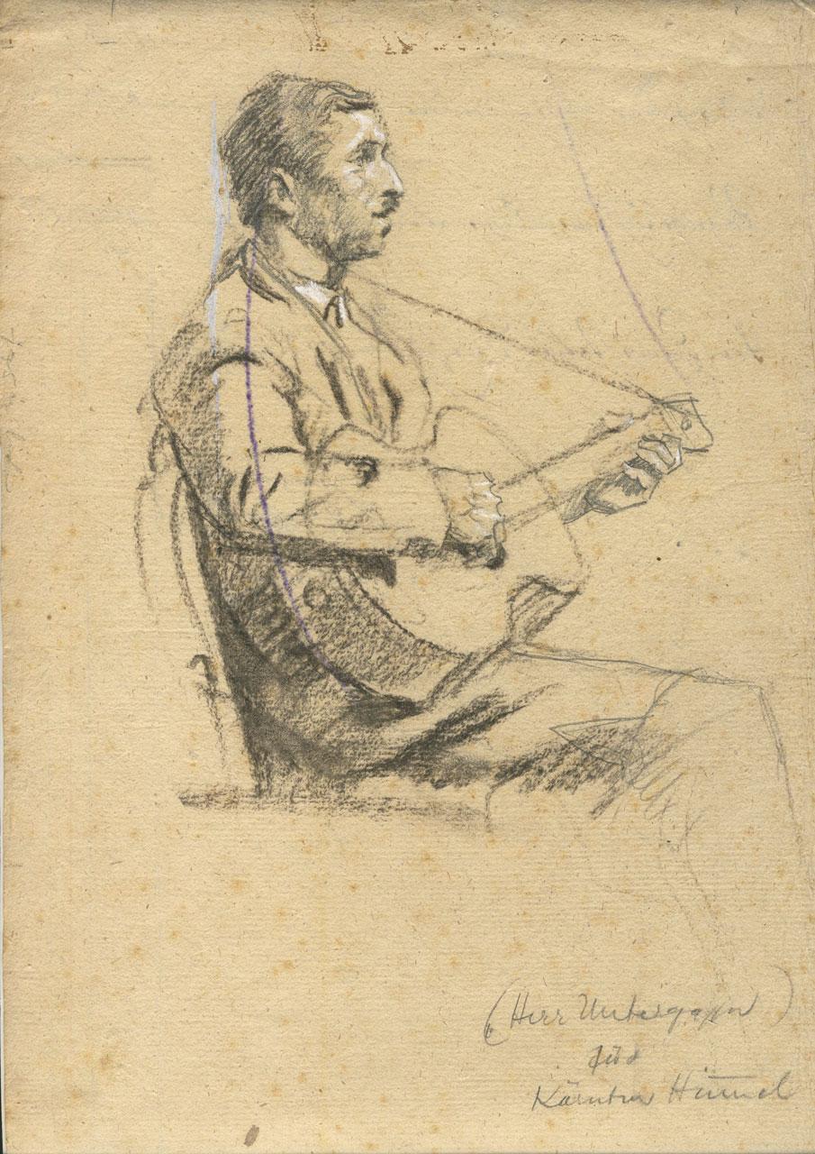 Switbert Lobisser (1878-1943), The Lute Player, 1928, charcoal, 27x23cm, titled Herr Unteregger for Kärntner Himmel, estate stamp