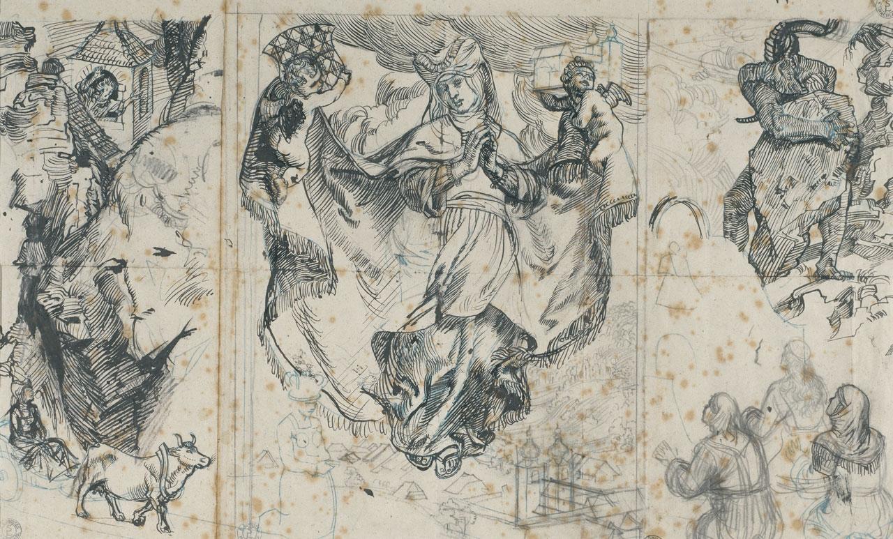 Switbert Lobisser (1878-1943), Saint Hemma von Gurk, 1923, (preliminary drawing), Indian ink pencil, 40x55cm, estate stamp