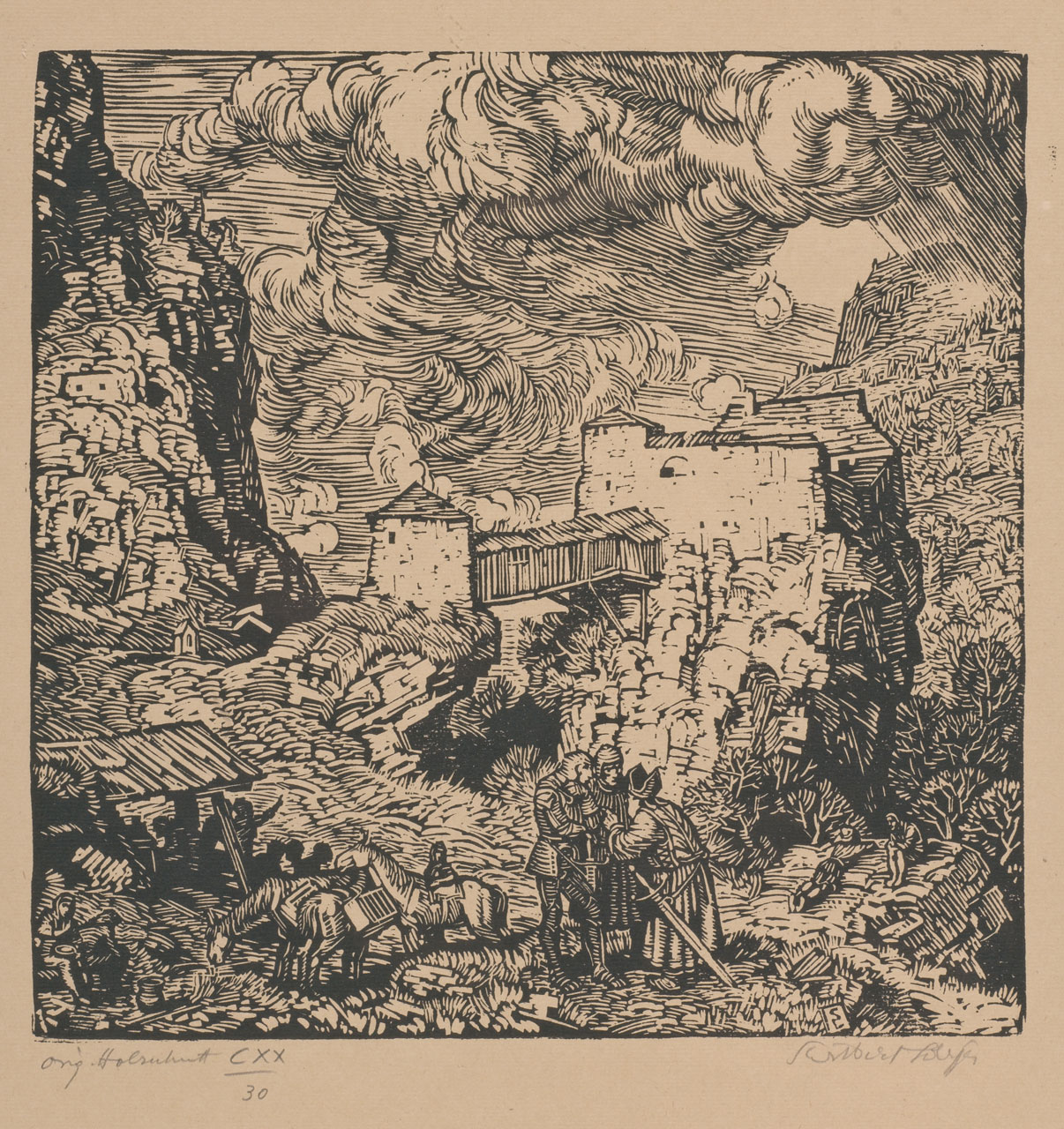 Switbert Lobisser (1878-1943), The small siege, 1930, woodcut, 30.7x22.6cm, signed, titled a. numm. 30 from op.120