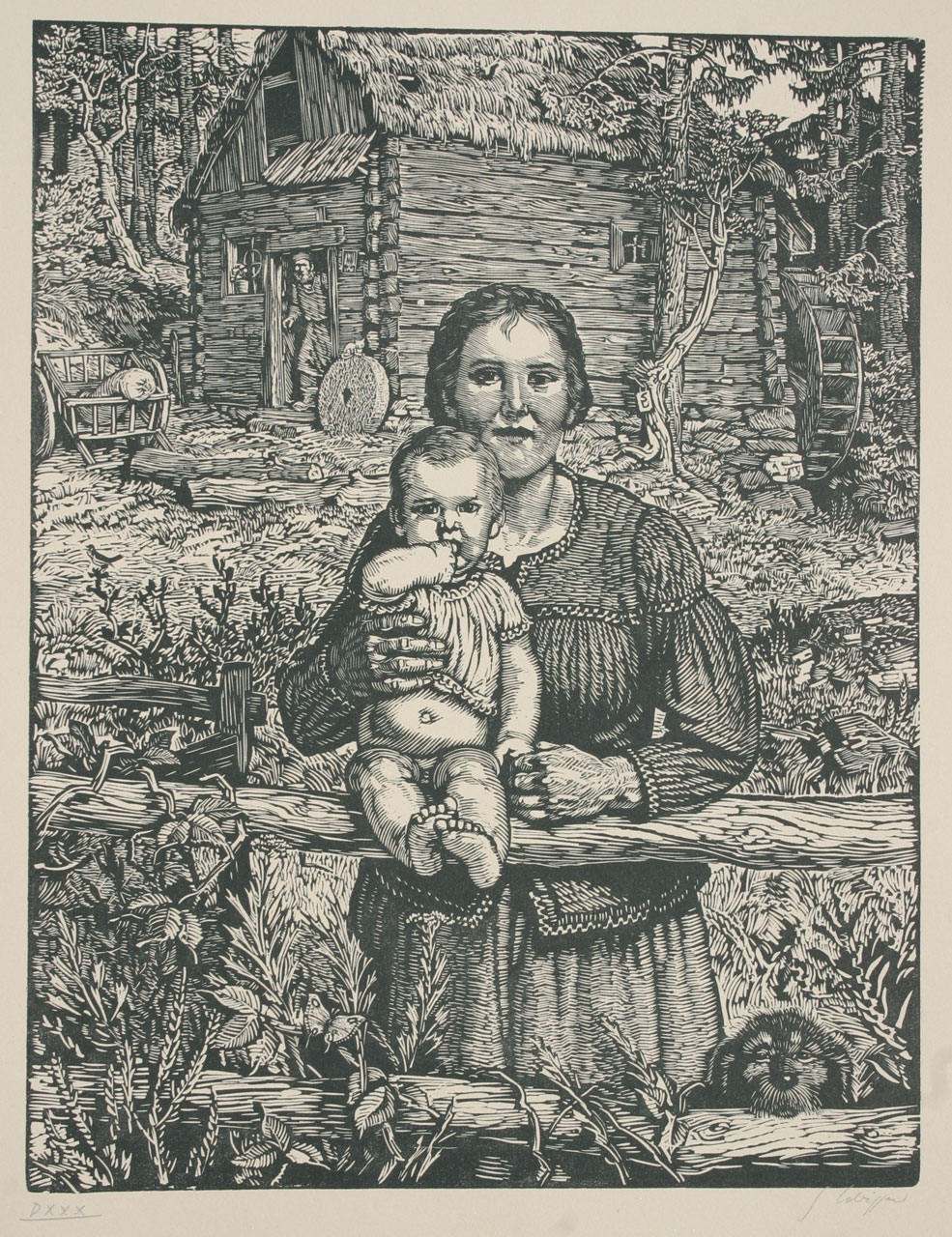 Switbert Lobisser (1878-1943), The beautiful miller's wife, 1939, woodcut, 45x34cm, signed and numbered op.530