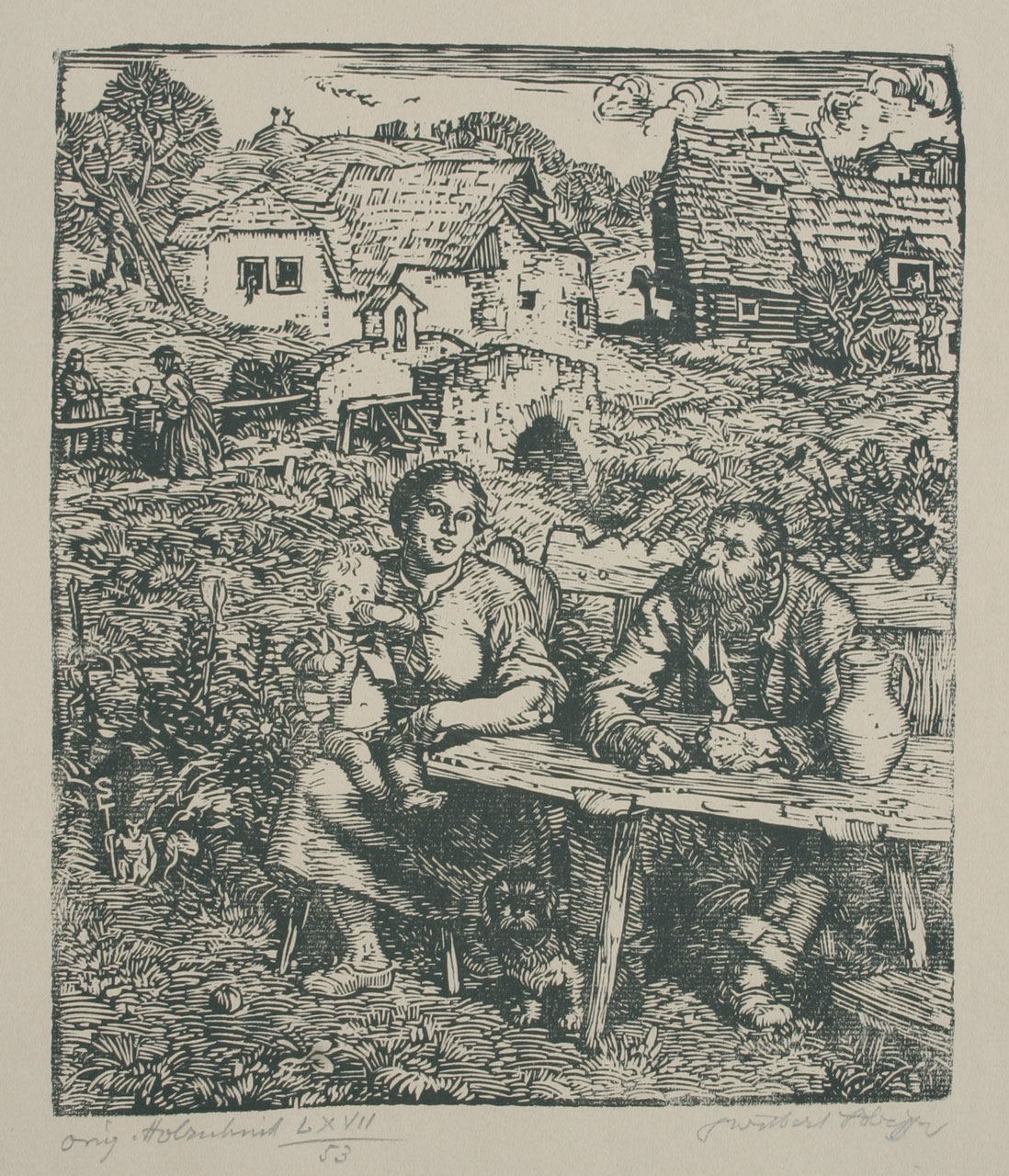 Switbert Lobisser (1878-1943) Feierabend, 1928, woodcut, 24x20cm, signed, titled and numbered 53 from op 67
