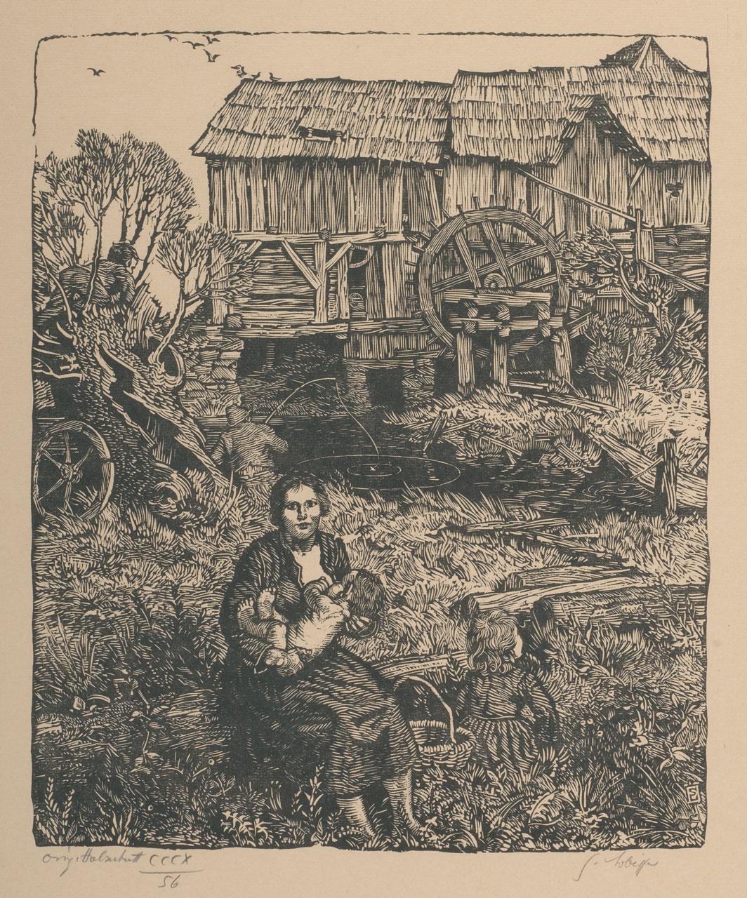 Switbert Lobisser (1878-1943), Fischer's Leut, 1936, woodcut, 37x30cm, signed, numbered 56 from op.319