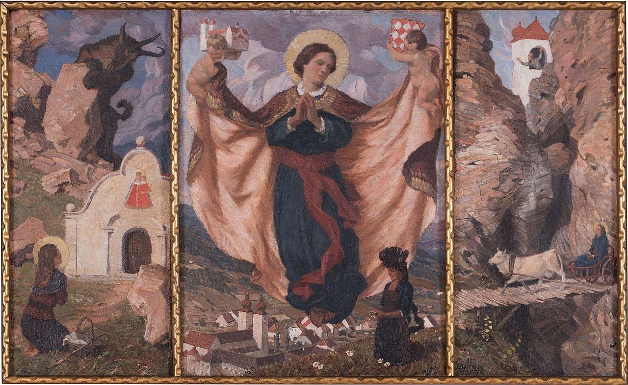 Switbert Lobisser (1878-1943), Hemma Triptychon, 1925, (Bittgang nach Maria Elend, The blessed Hemma von Gurk, Escape from Admont), oil on canvas, 68x112cm, signed, on request