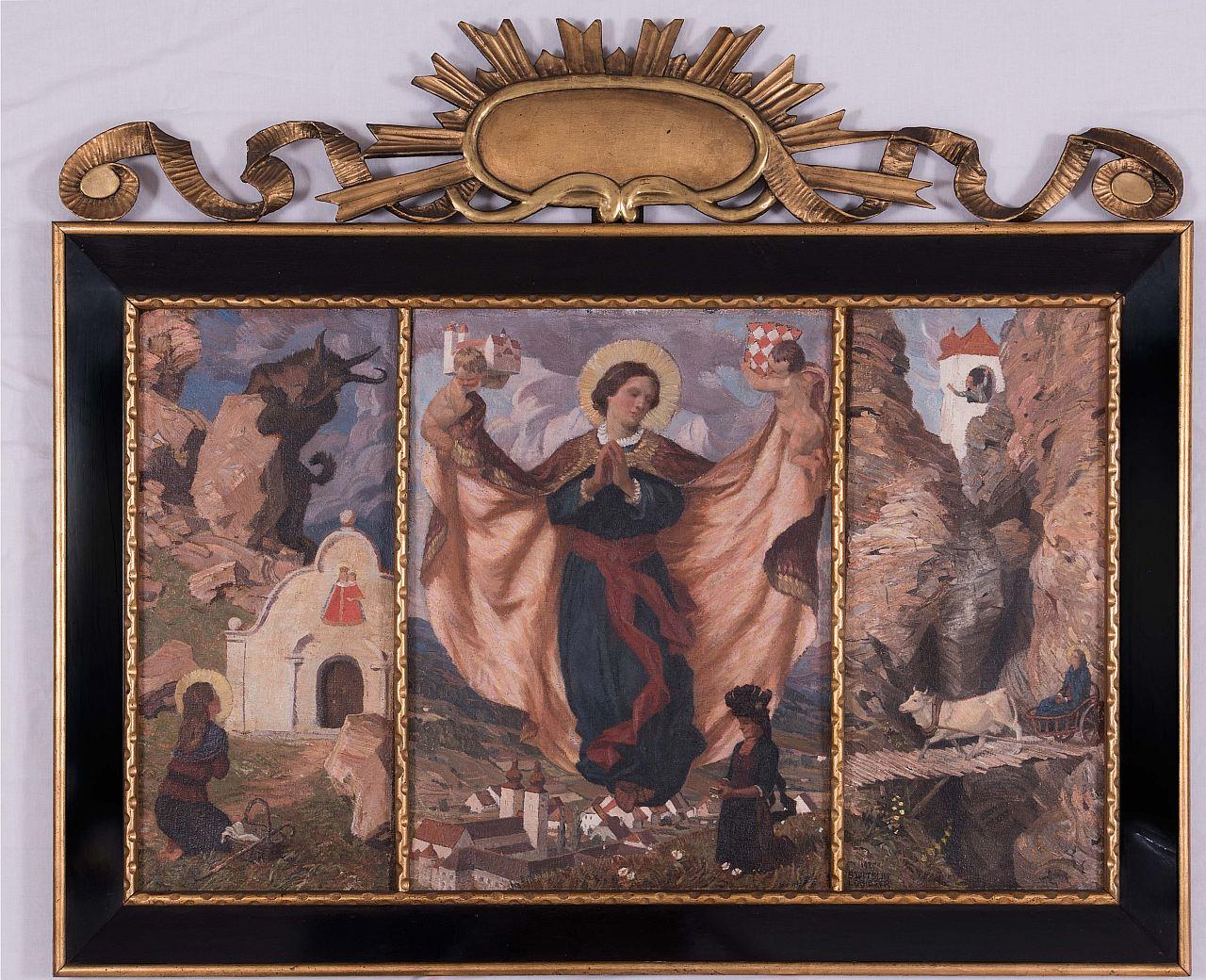 Switbert Lobisser (1878-1943), Hemma Triptychon, 1925, (Bittgang nach Maria Elend, The blessed Hemma von Gurk, Escape from Admont), oil on canvas, 68x112cm, signed