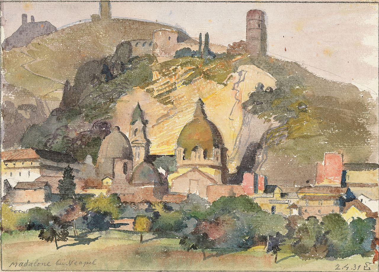 Switbert Lobisser (1878-1943), Madalone near Naples, 1931, watercolor, 26x39cm, signed, dated and titled