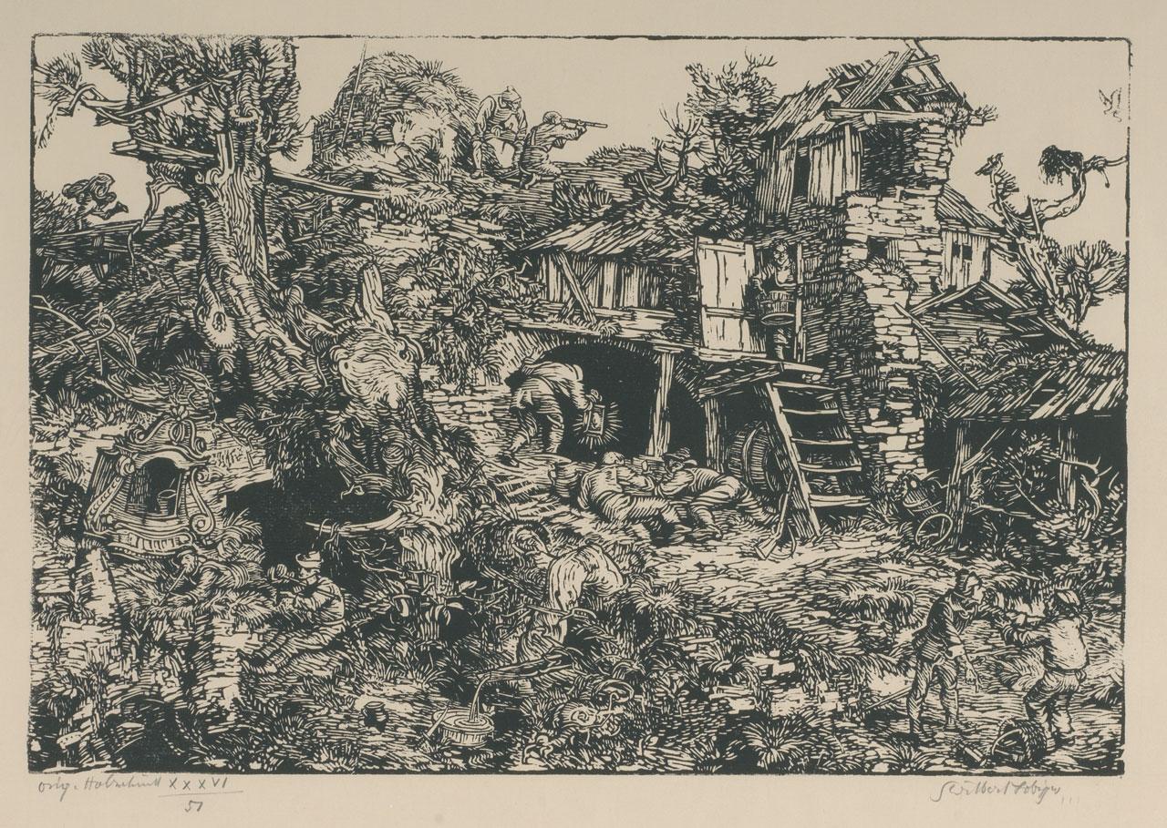 Switbert Lobisser (1878-1943), Robbers' Nest, 1926, woodcut, 28x41cm, signed, numbered No. 41 of op.36