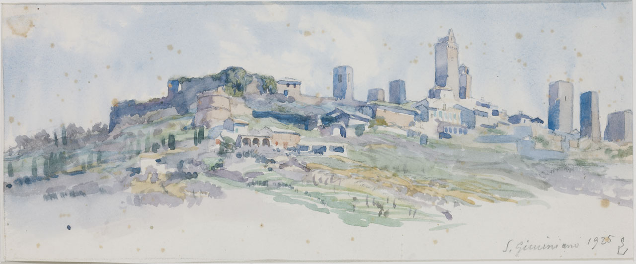 Switbert Lobisser (1878-1943), San Gimignano, 1925, watercolor, 14x33cm, signed, dated and titled