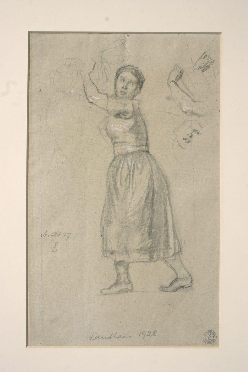 Switbert Lobisser (1878-1943), Schreitende Landhaus, 1927 1928, pencil, 38x30cm, signed, dated October 6th. 1927, titled Landhaus 1928