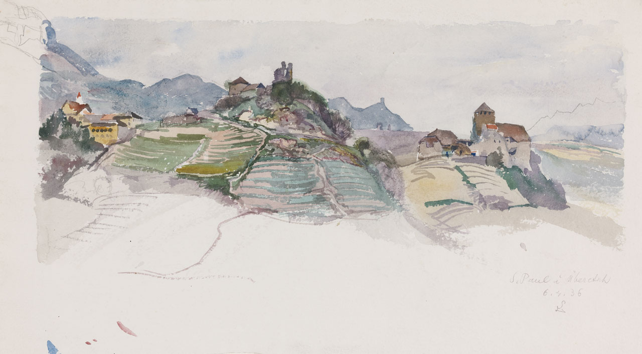 Switbert Lobisser (1878-1943), St. Paul in Überetsch near Bozen, 1936, watercolor, 26x46cm, signed, dated and titled, € 5.300, -