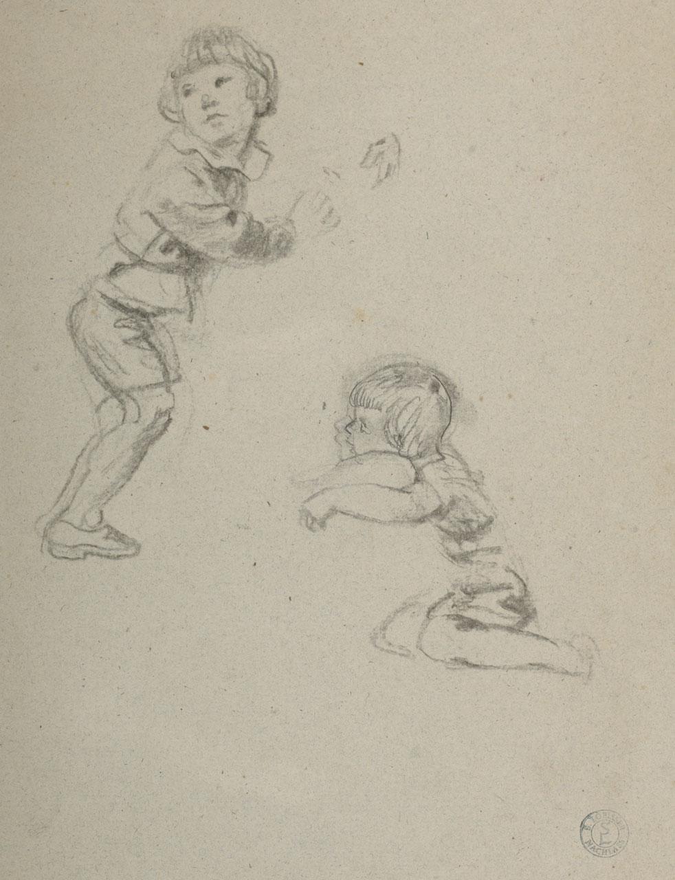 Switbert Lobisser (1878-1943), Two Boys, around 1930, pencil, 28x22cm, estate stamp