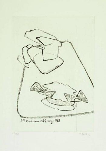 Maria Lassnig - ML nach einer Zeichnung v. 1968